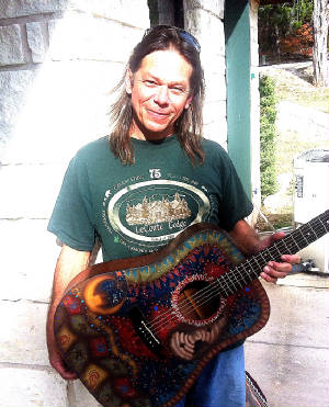 Jimmy Davis and his custom painted Takimine. Hey Jimmy what's up ?
